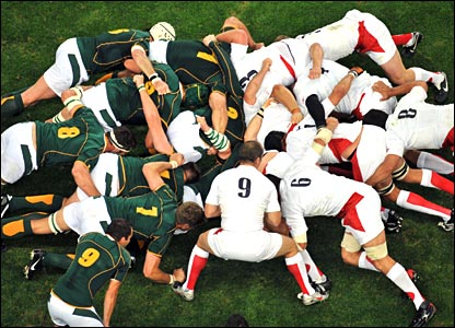 Bird's eye view of a rugby union scrum