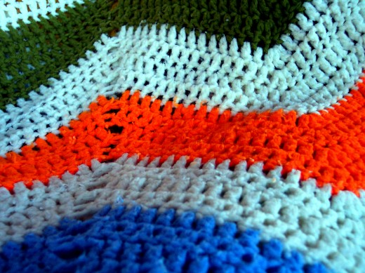 Crochet in a pinnacle stitch creating a zig zag pattern for each row.