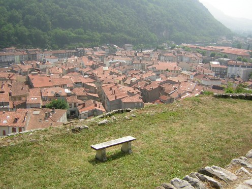 Rooftop view of the town of Foix