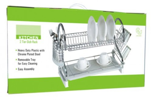 A sturdy two-level dish drainer in an attractive silver finish.