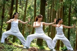 Ladies practicing Kung Fu in Beijing