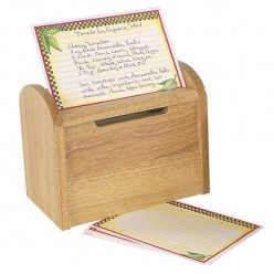 Classic wooden recipe card box with a lid that serves as a recipe card holder as you cook.