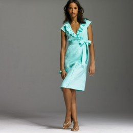 Wrap dresses can also come in crisp cotton--ruffles around the neck create the illusion of a bust and are a fun way to express a flirty personality