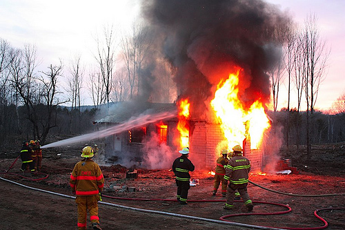 house burning down