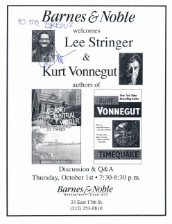 Lee Stringer is formerly homeless writer who was mentored by Kurt Vonnegut. I captured Stringers autograph on October 1, 1998 when he and Vonnegut spoke about the penning of their books shown in the flier.