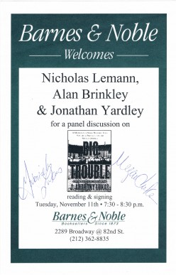 The autographs shown are of Gabriela Lukas and Megan Clarke, daughters of the two-time Pulitzer Prize winner and deceased J. Anthony Lukas. Secured at a panel discussion about their fathers writing on November 11, 1997.