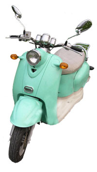An earlier version of an electric moped without the pedals