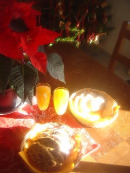 Spiced fruit loaf and Bucks Fizz - of course we change it every year according to our fancy!