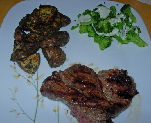 Grilled Steak, Roasted Potatoes, and Broccoli