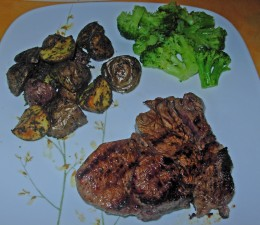 Grilled Steak ready to eat plus Roasted Potatoes and Broccoli