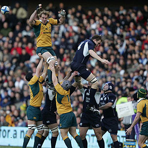 Australia and Scotland contest a rugby union lineout