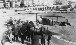 The Sopwith Schneider (sometimes known as a Tabloid), winner of the 1914 Schneider Trophy at Monaco, seen at La Condamine