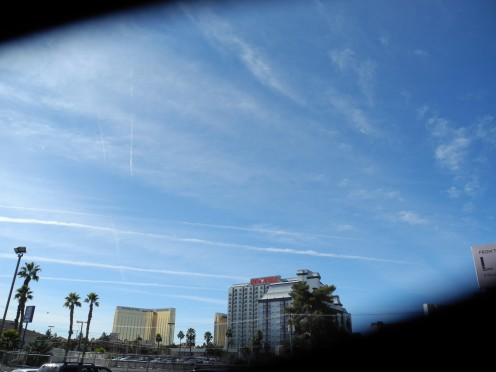 Chemtrails directly above the Mandalay Bay Resort and Hooters, Las Vegas