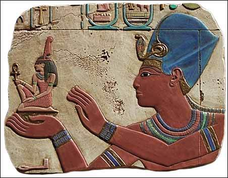 Seti I, father of Ramesses II, Offering Maat to a god