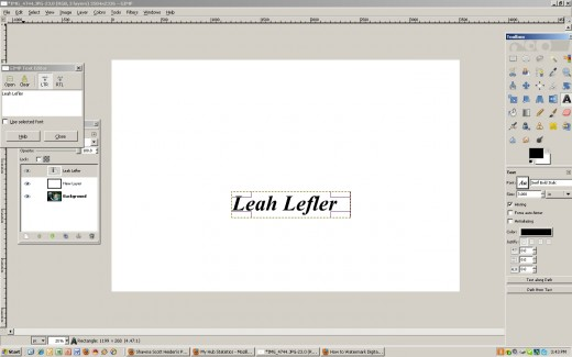 Adding text to the white layer.