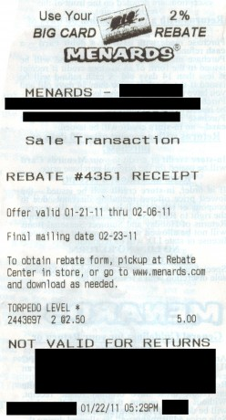 A sample rebate receipt, which will print at the bottom of your actual receipt.