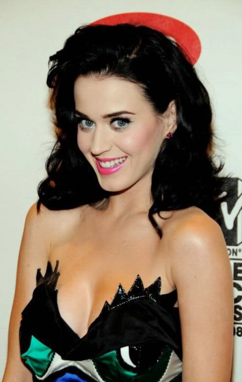 Singer Katy Perry is certainly a dark haired beauty.