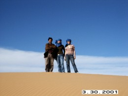 The man on the left hand side is actually Brahim Elabdouli hanging out with us. Sahara Desert, Morocco