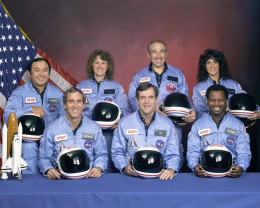 STS-51-L crew: (front row) Michael J. Smith, Dick Scobee, Ronald McNair; (back row) Ellison Onizuka, Christa McAuliffe, Gregory Jarvis, Judith Resnik