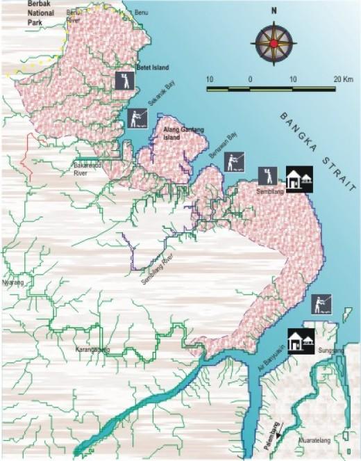 map of sembilang national park
