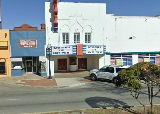 This is the Texas Theatre where Oswald was apprehended. It's appearance has changed since 1963 as it has been remodeled more than once. Ironically, the movie playing is Oliver Stone's JFK