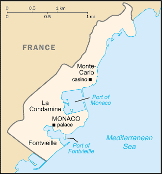 Map of the Principality of Monaco and its Mediterranean coastline