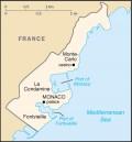 Map of the Principality of Monaco and its Mediterranean coastline