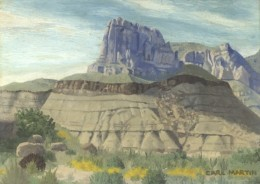 """Guadelupe Peak,"" 9x12"", 1968. Oil on canvasboard. Copyright Carl Martin."