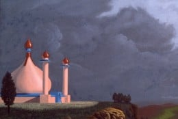"""Palace of Ari-Delia,"" 24x48"", 1978, acrylic on canvas. Copyright Carl Martin."