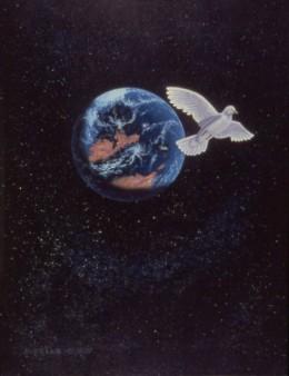 """Interstellar Peace,"" 24x30"", 1979, acrylic on canvas. Copyright Carl Martin."