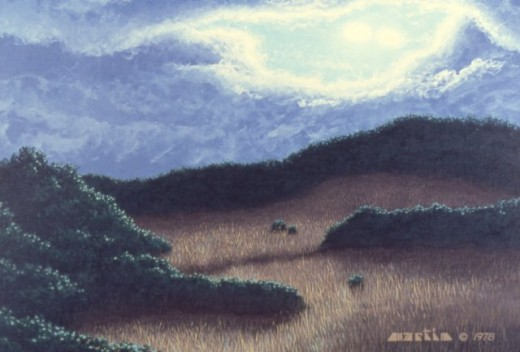 """Fields and Forests,"" 24x30"", 1978, acrylic on canvas. Copyright Carl Martin."
