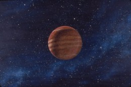 """""""Gas Giant,"""" 24x30"""", 1983, acrylic on masonite. Copyright Carl Martin. Used as background art in the Saul and Elaine Bass short film, """"Quest"""" (1984, Pyramid Media), from a Ray Bradbury story."""