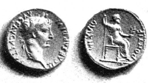 The Roman tribute-money which the Pharisees and Herodians produced was the silver denarius, bearing the image and superscription of Tiberius Caesar.
