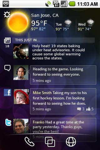 *Spark, showing weather, social, and dock