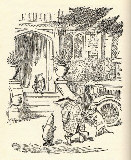 Mole arrives at Toad Hall with Badger and Ratty.