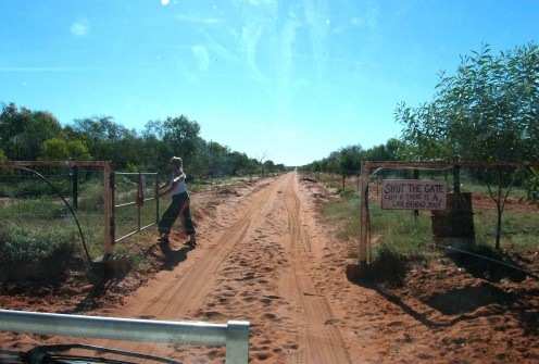 Sheilagate - Beyond the gate, the road becomes very soft and sandy - we have to drive fast to avoid becoming bogged.