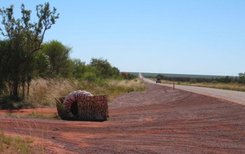 Tyre on the highway - 9 kilometres to Mars
