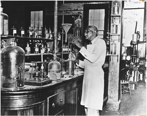 George Washington Carver in his laboratory.