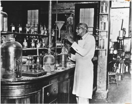 George Washington Carver in his laboratory.
