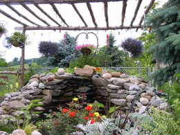 My Pond-we placed each rock and cut cedar trees  for a pergola over pond