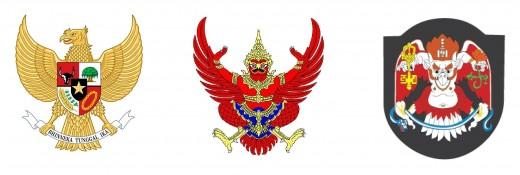 Garuda as a national symbol of Indonesia (left); Garuda as a national symbol of Thailand (center); Garuda as the symbol of Ulan Bator, Mongolia.