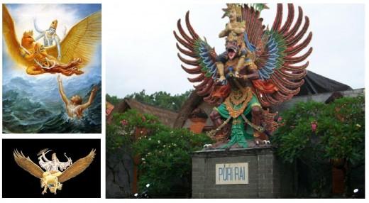 Garuda depicted as a mount of Vishnu.
