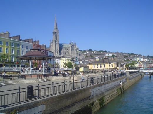 The tall spire of Cobh's St Colman's Cathedral seen from the harbour