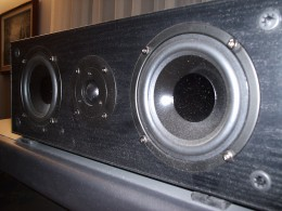 "This is a common home theater speaker.  It can also be thought of as three ""drivers"" (the three cone-shaped inserts) built into an ""enclosure."""