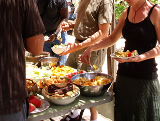 Potlucks are a great way to eat healthy food in a friendly setting.