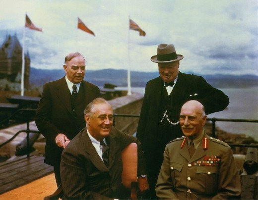 With the Chateau Frontenac in the background, WL Mackenzie King, FD Roosevelt, WS Churchill and their host Canadian Governor-General the Earl of Athlone, at Quebec City's Citadel in 1943