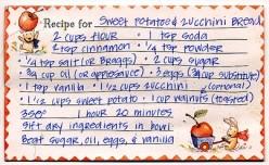 Vintage recipe card for quick bread
