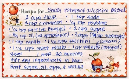 Vintage recipe card for quick bread