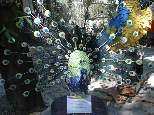 This peacock was made out of pieces of soft drink cans