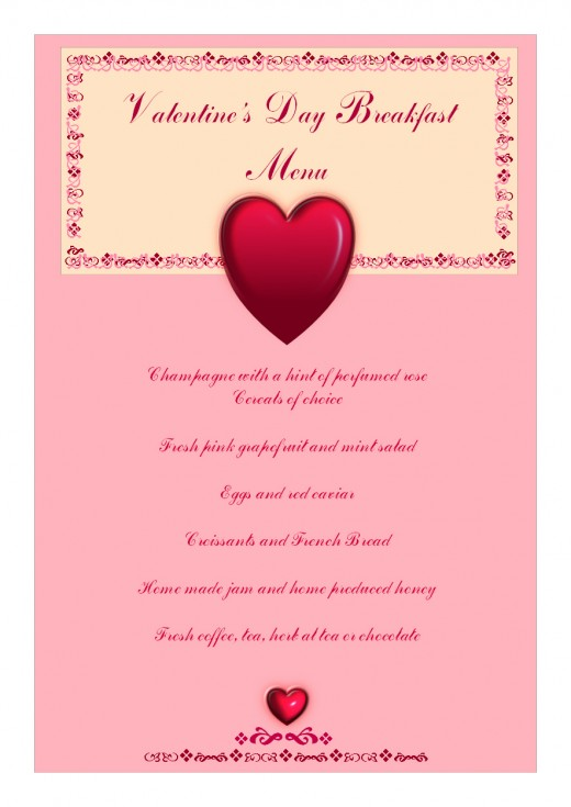 Valentine's Day Breakfast Menu at Les Trois Chenes Bed and Breakfast 2011